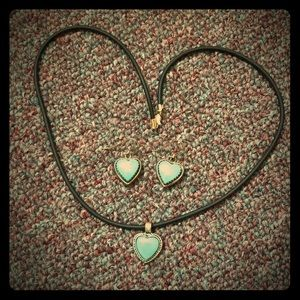 Jewelry - Turquoise Heart Earring and Necklace set
